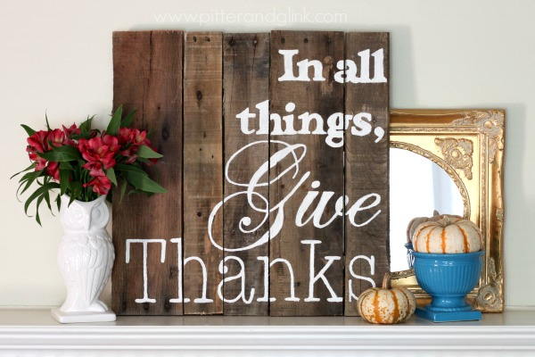 Give thanks wood pallet sign