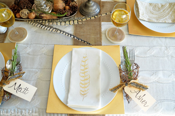 Golden and Yellow Accents for Tablescape