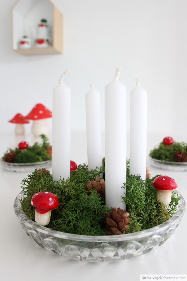 Green Christmas Candle Centerpiece