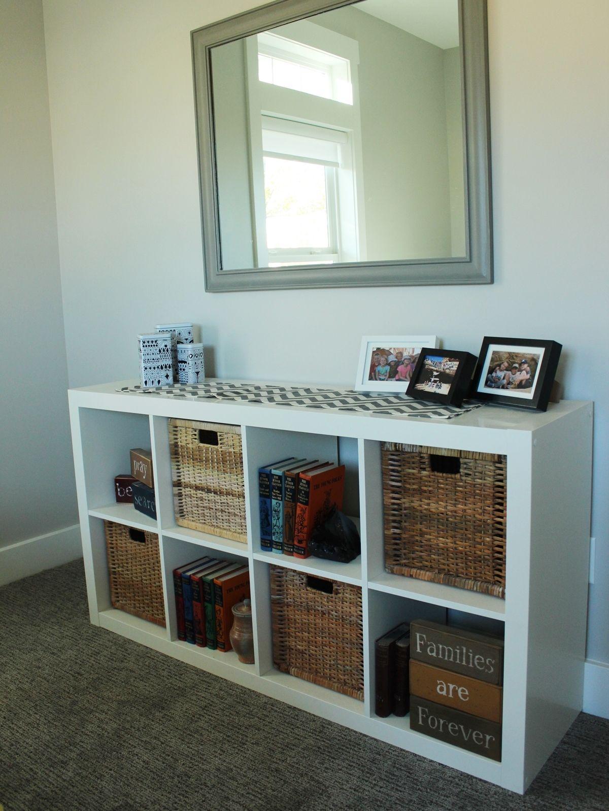 Guest Bedroom white IKEA bookshelf