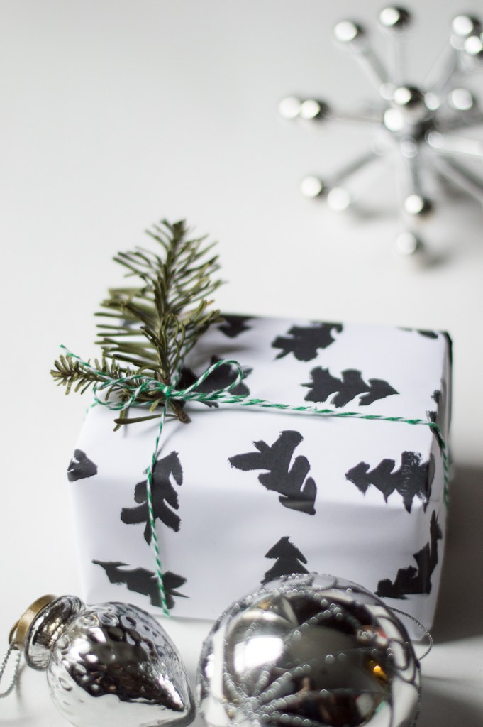 Hand painted christmas wrapping paper