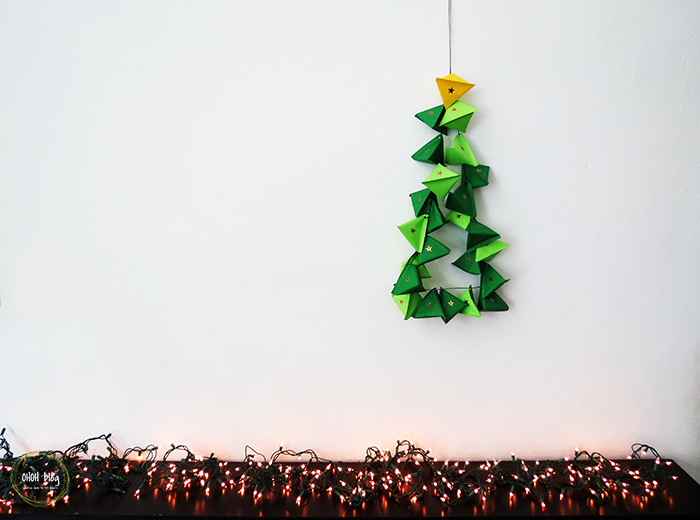 Hanging green advent calendar