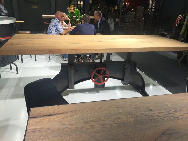 Industrial dining table with tall base