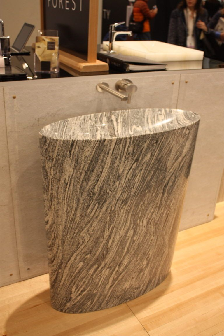Infinity Pedestal Sink also in Cumulo Granite from Stone Forest.