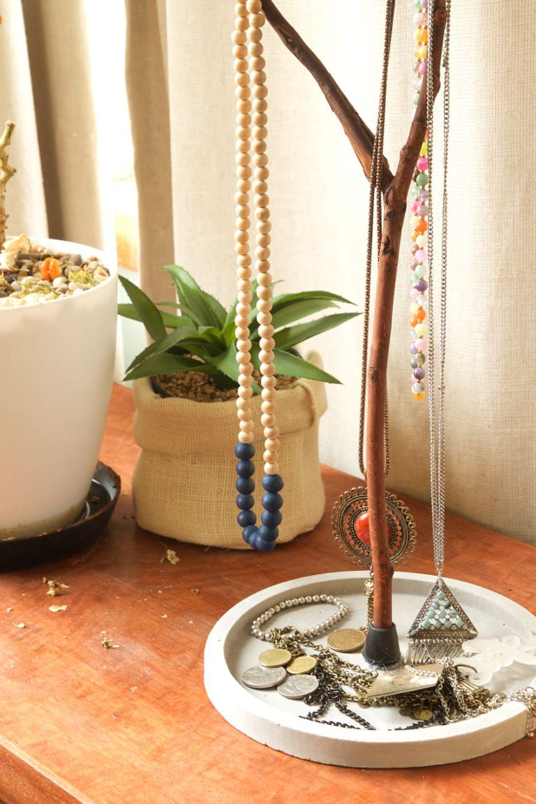 Jewelry Tree Display with concrete base