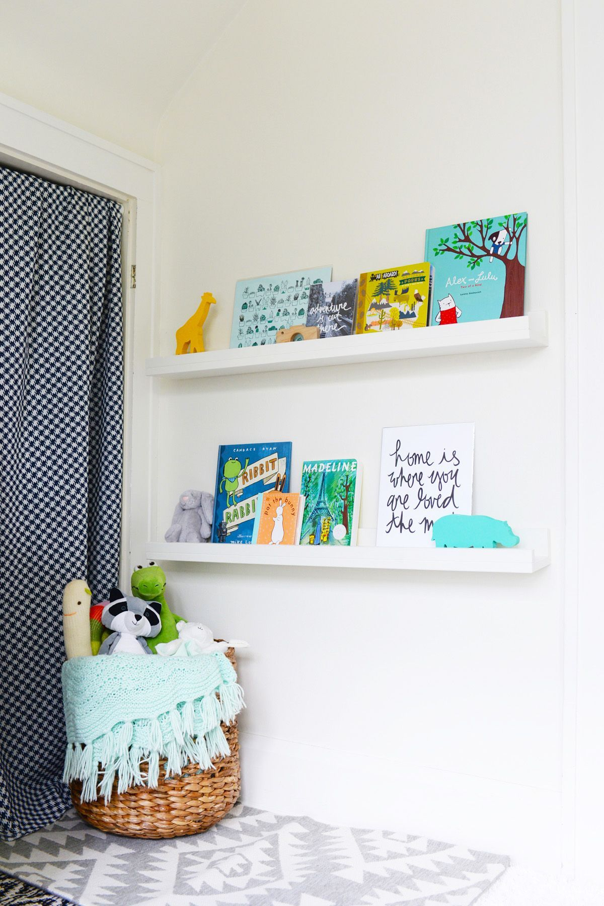 Easy-to-make floating shelves are great for any room.