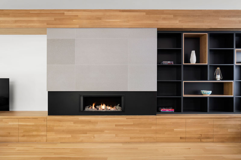 La Casa renovation in Montreal fireplace