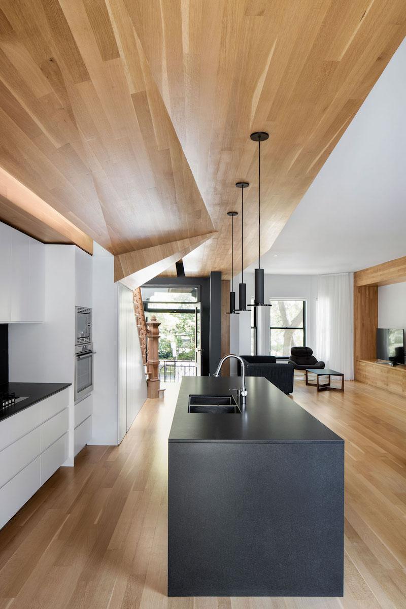 La Casa renovation in Montreal kitchen island pendants