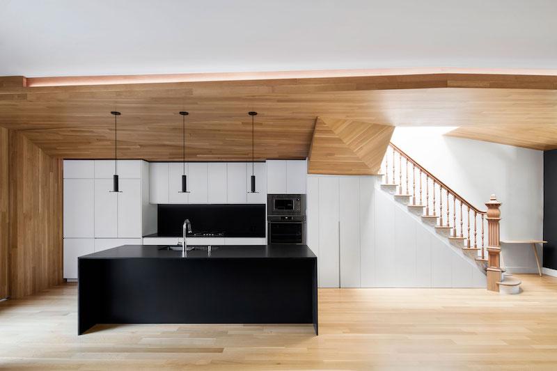 La Casa renovation in Montreal kitchen island
