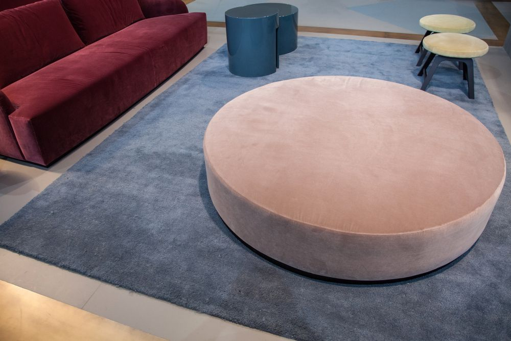 ... Large And Low Purple Round Ottoman Good Ideas