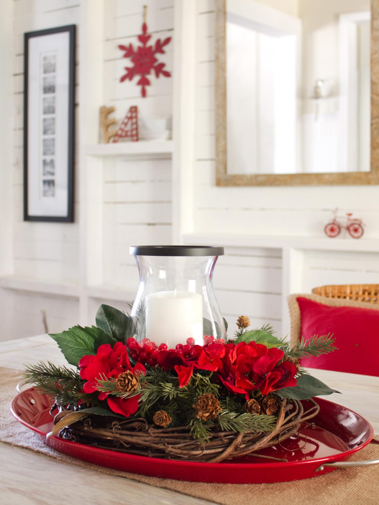 layered centerpiece for christmas