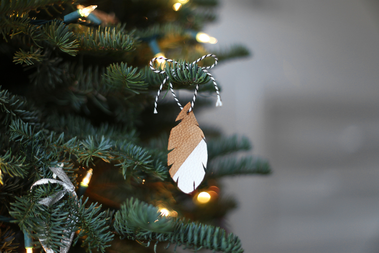 Leather Leaf Christmas Tree Ornament