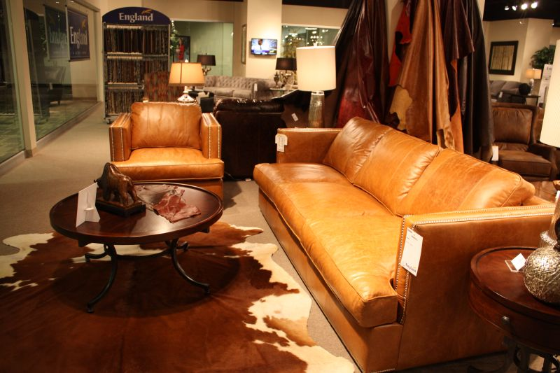 Leather furniture and cowhide accents
