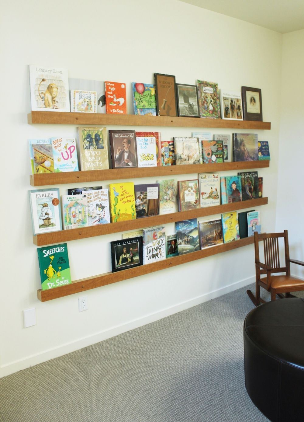Ledge on wall to store books for grandchildren