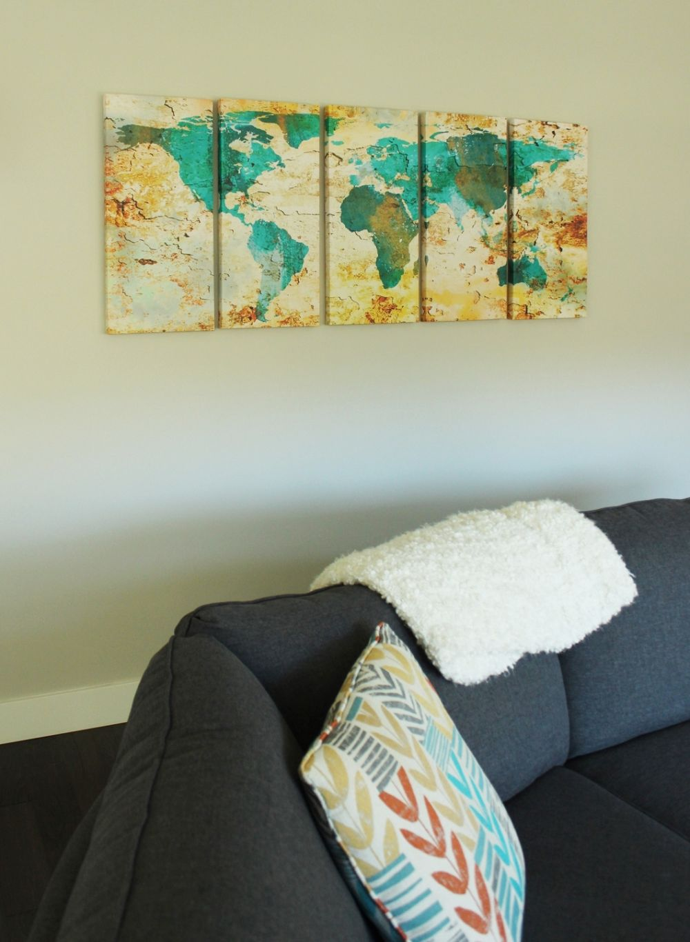 Living room wall art with bold touch