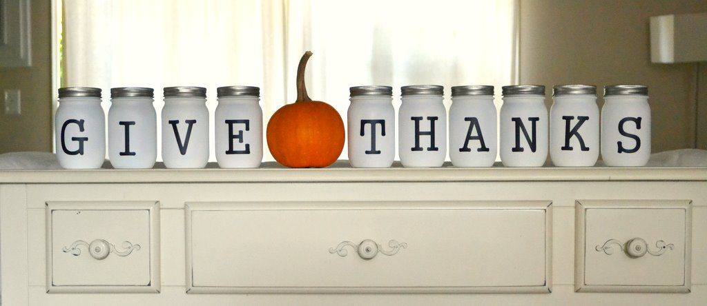 Mason jars give thanks