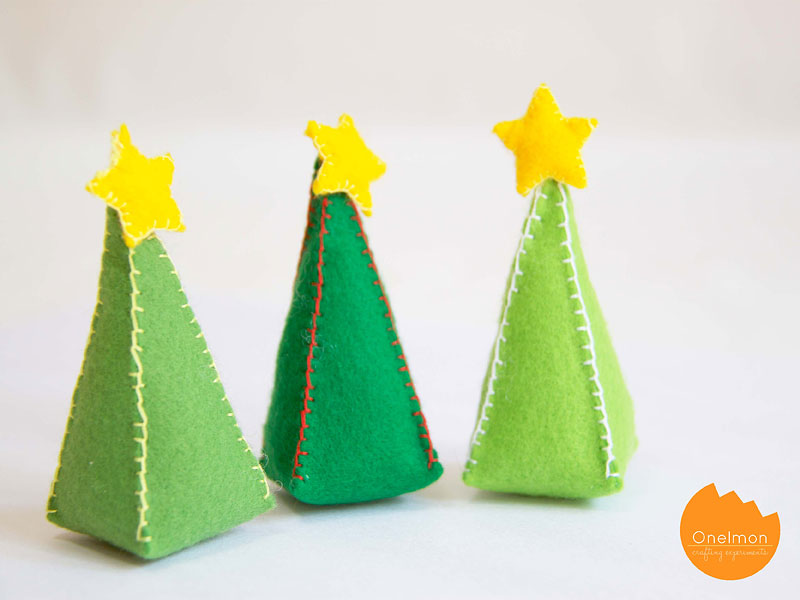 Mini Christmas Trees from Felt
