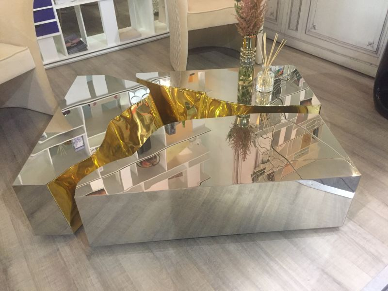 Mirrored Lapiaz Coffee table with Gold interior from Bocadolobo