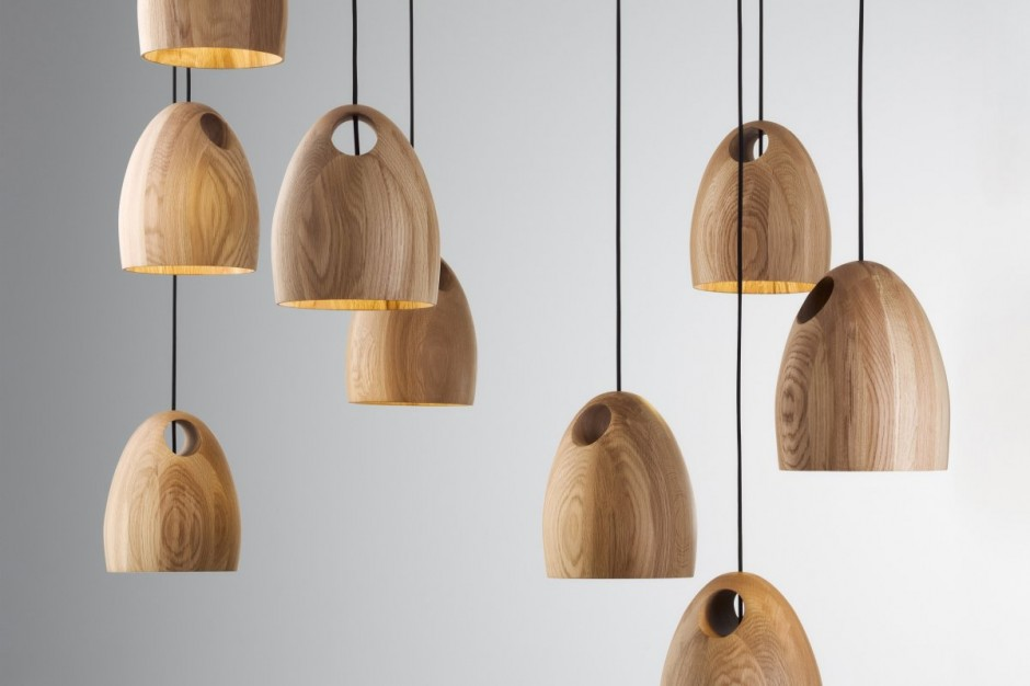 Oak Pendant Lamps by Ross Gardam