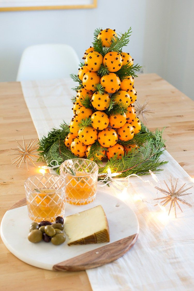 Orange Clove Holiday Topiary with lights