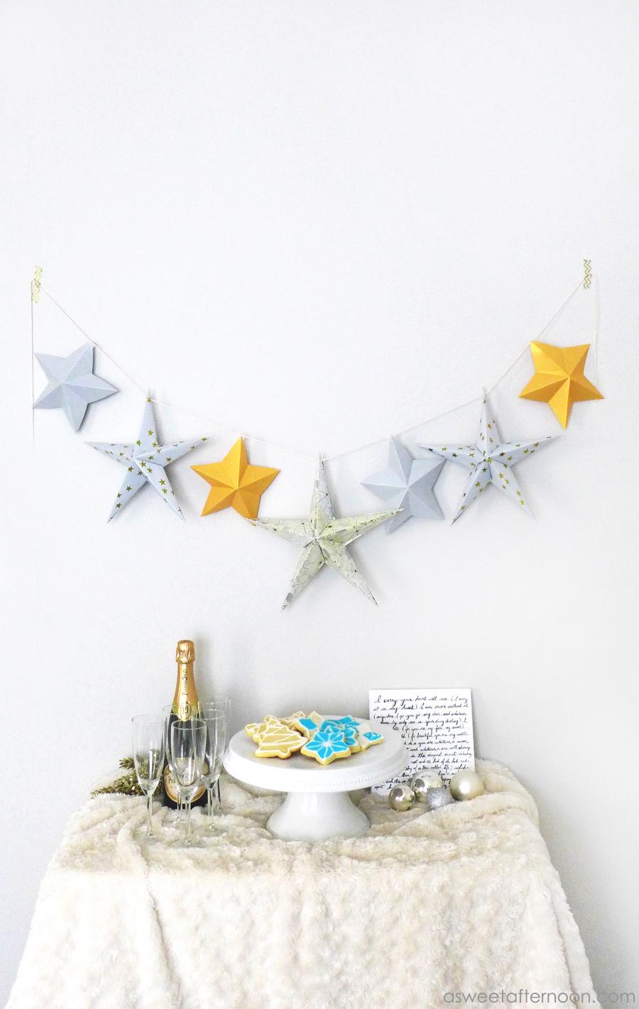 Origami star garland