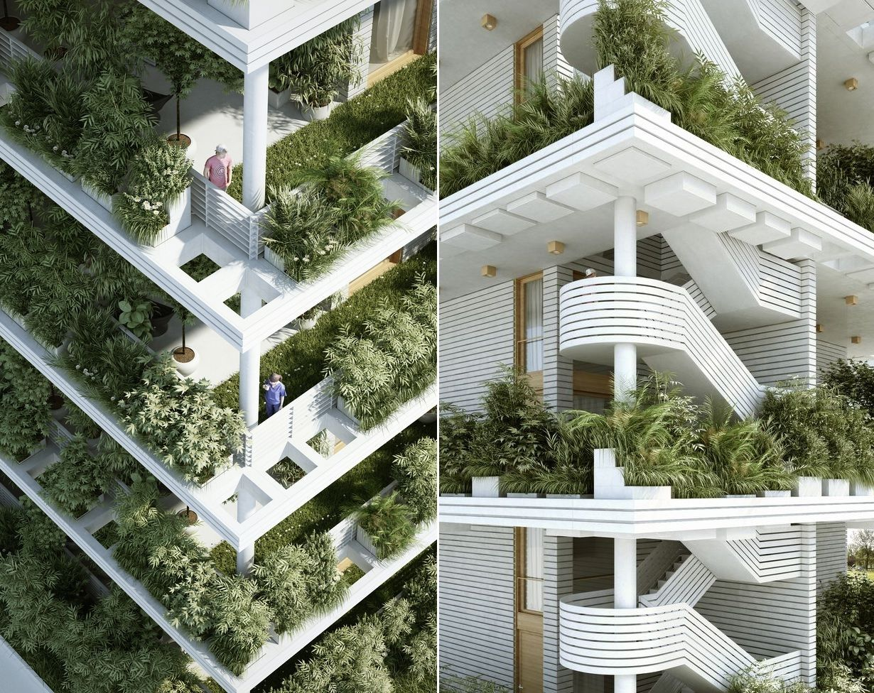 Penda Designs Sky Villas with Vertical Gardens Stairs