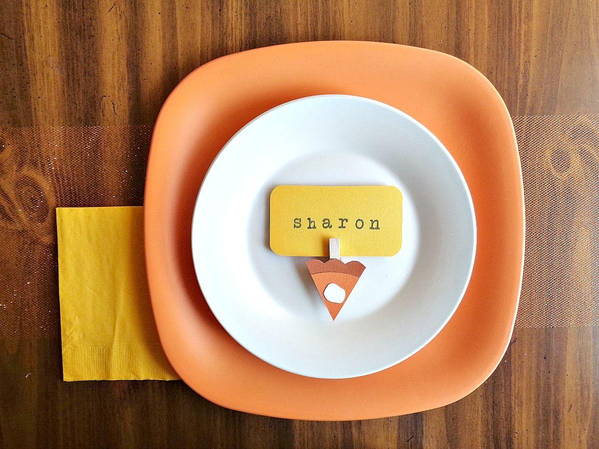 Pumpkin Pie Slice Place Cards Arrange