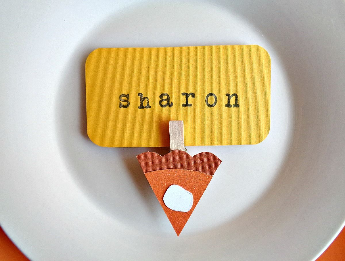 Pumpkin Pie Slice Place Cards for Holiday