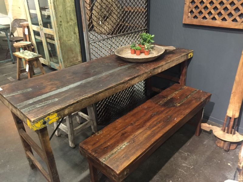 Recycled old table for dining