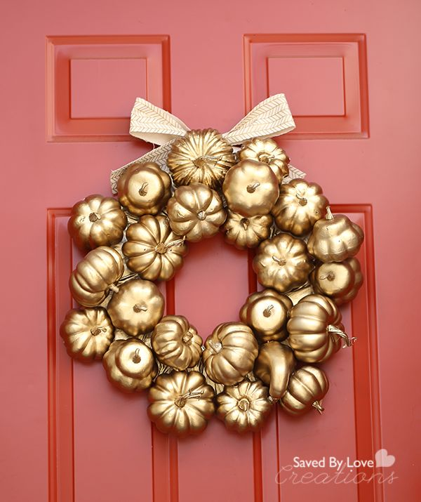 Red door with gold wreath for Thanksgiving