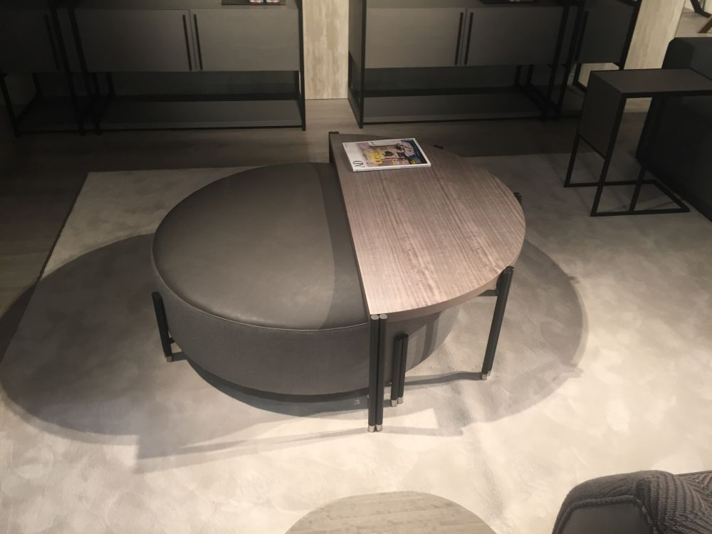 Wonderful ... Round Leather Ottoman With Half Coffee Table