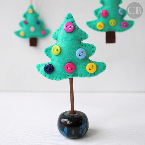 Small Felt Trees with Buttons