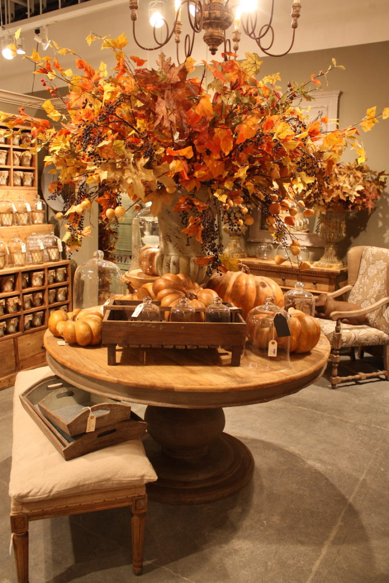 Park Hill uses a large and spectacular natural autumn display to highlight a beautiful rustic table.