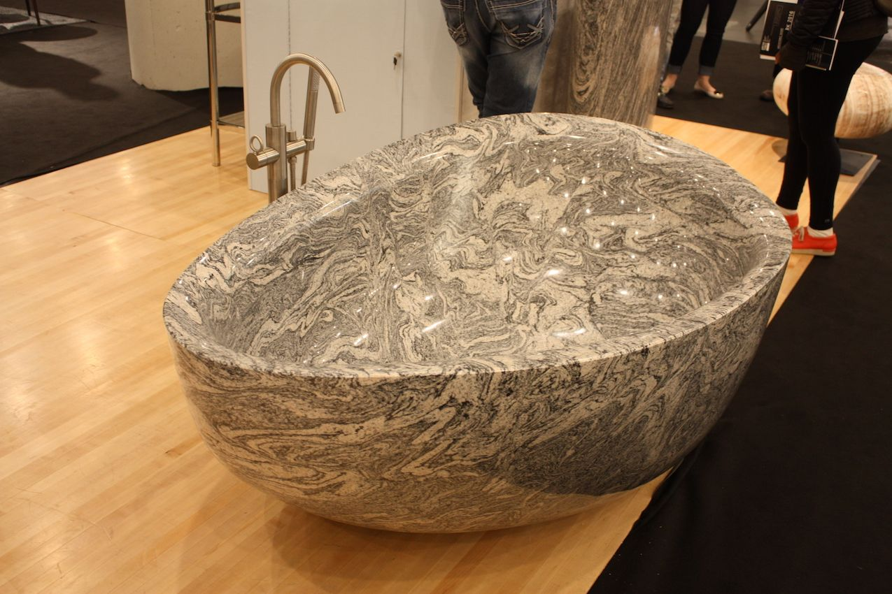 This hefty vessel sink from Stone Forest sports an intricate stone pattern.