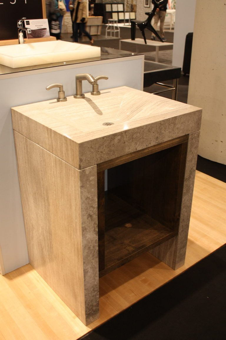 Stone Forest open storage pedestal sink.
