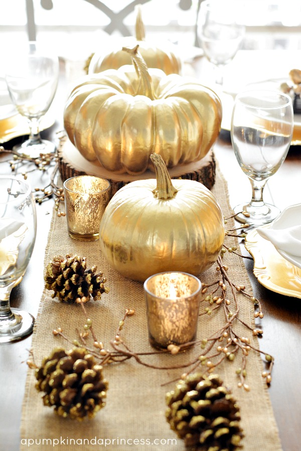 Tall Thanksgiving with Gold sprayed pumpkins and pinecones