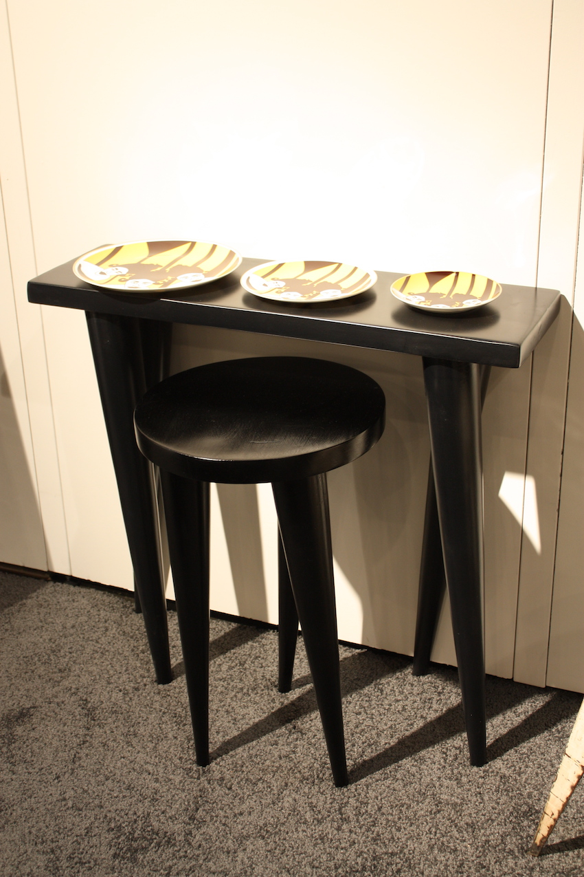 Tall narrow table and weendu stool