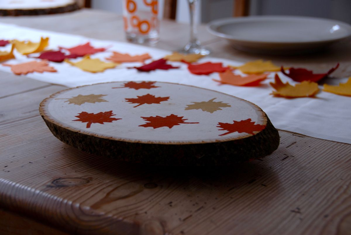 Thanksgiving Wood Slab Serving Tray DIY