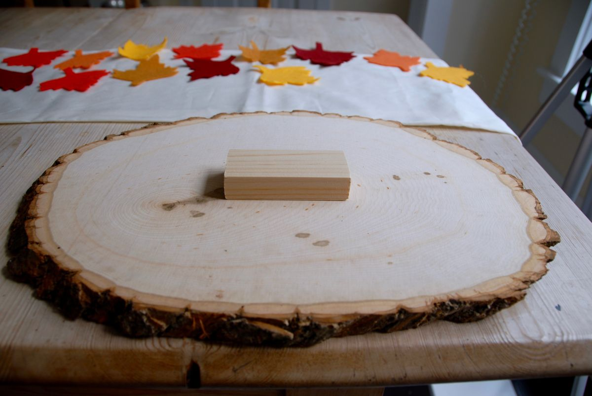 Thanksgiving Wood Slab Serving Tray Plates
