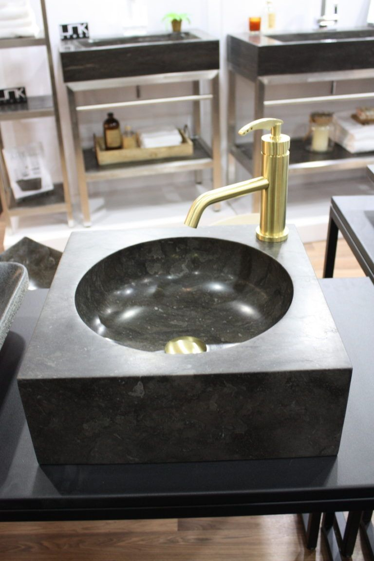 Square gray limestone sink from UNIK.