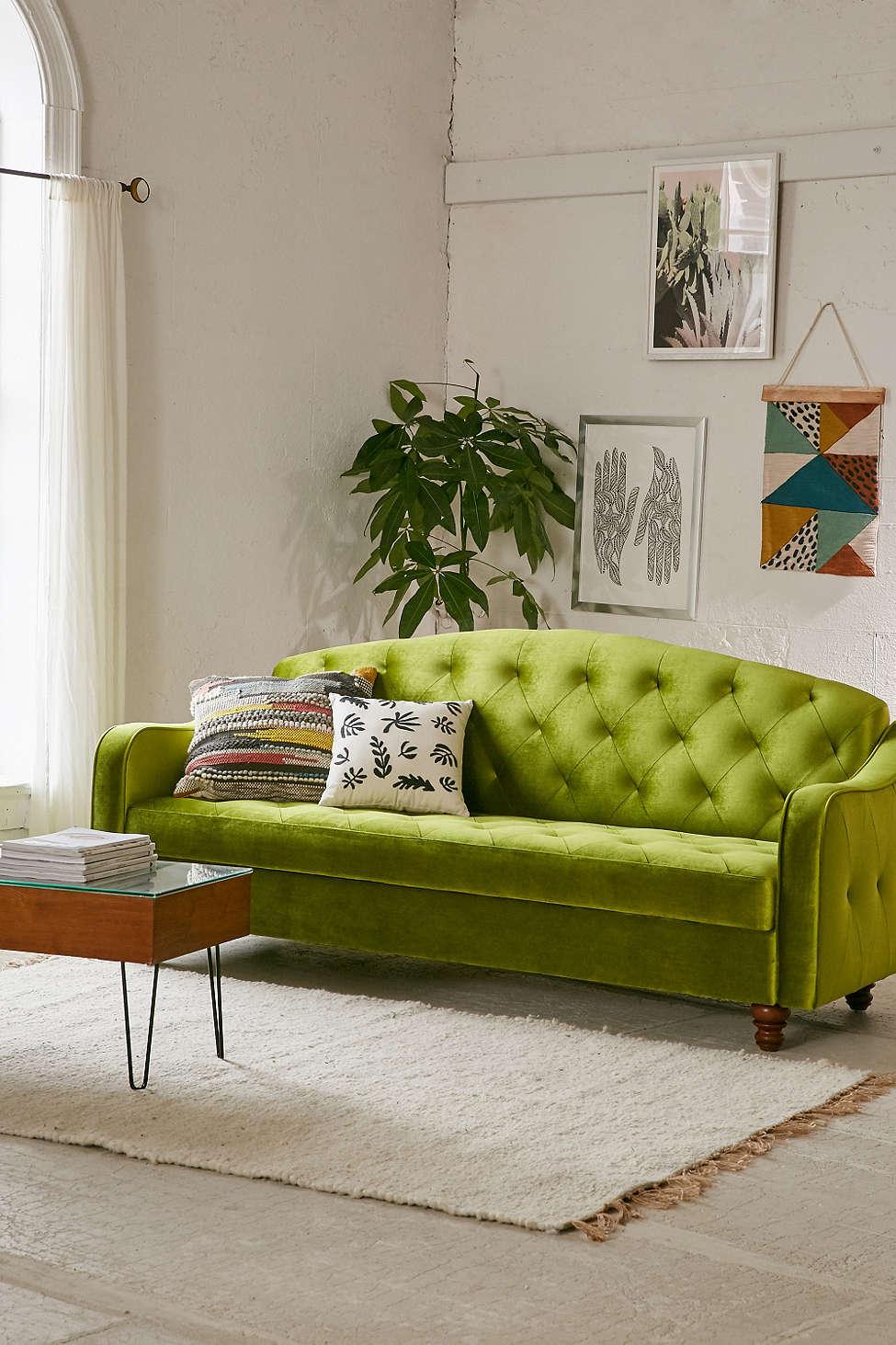 Velvet sofa bed