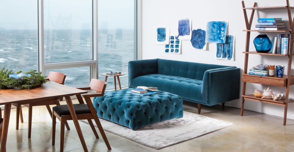 Exceptional Velvet Sofa In Blue With Ottoman