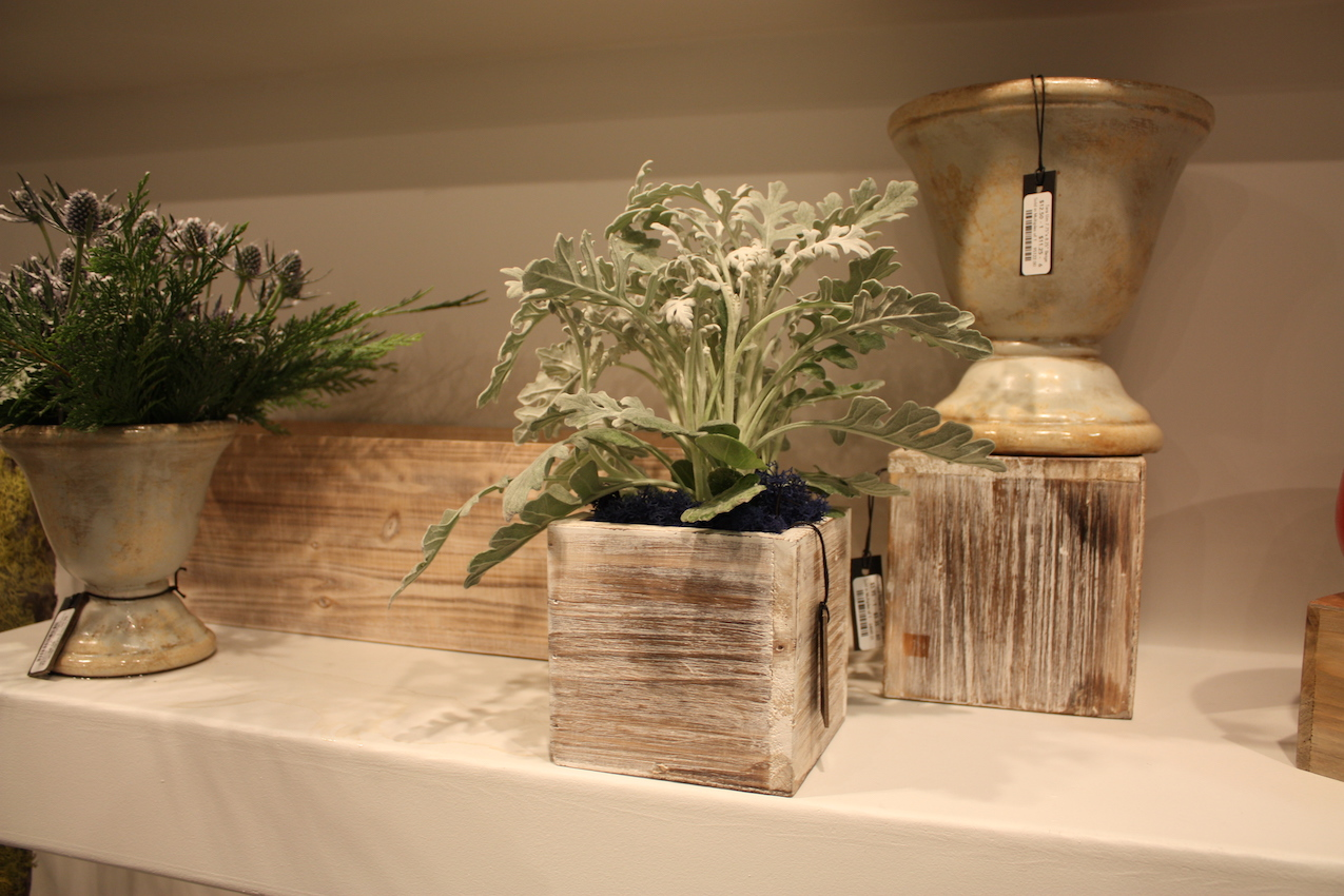 Accent Decor offers planters and pedestals, as well as other items, in a whitewashed finish.