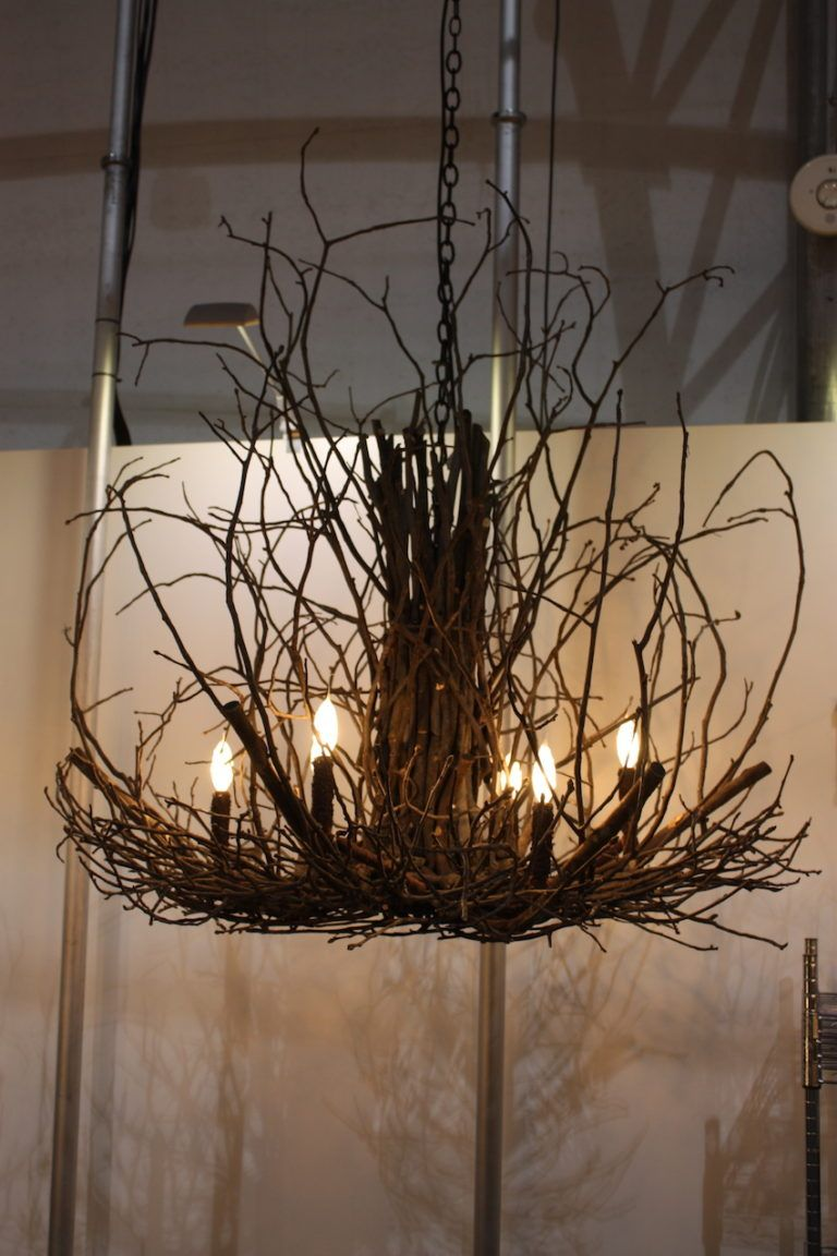 Wish Designs natural wood chandelier comes in colors too.