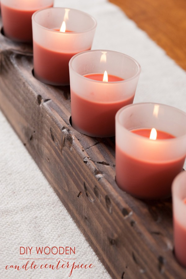 Wooden candle holder for Christmas table
