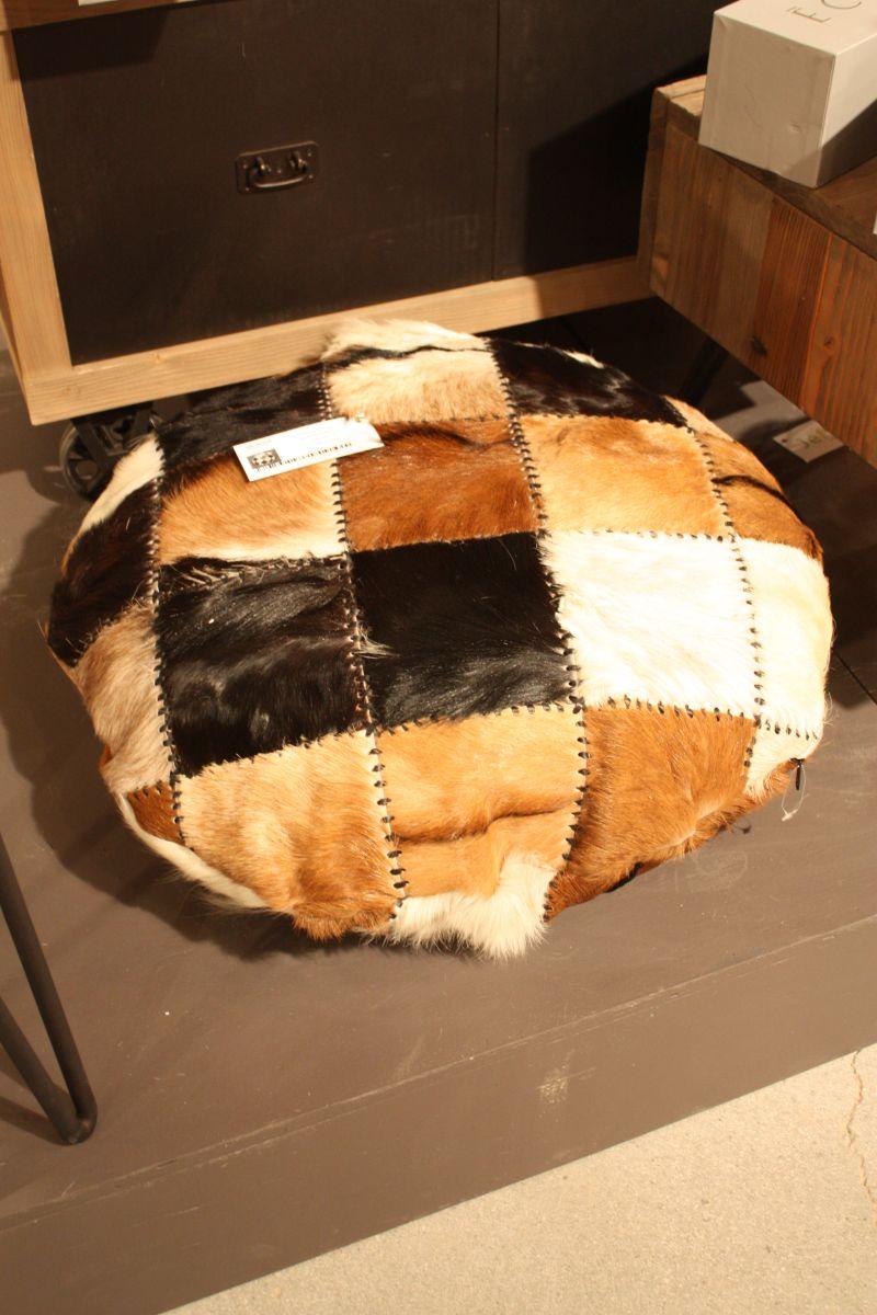 cowhide round ottoman design