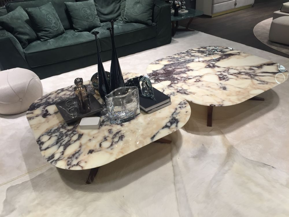 duo coffee tables with marble on top