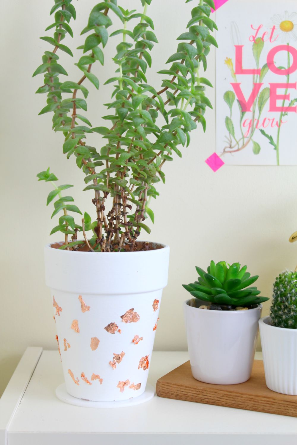 modern DIY Copper Foil Planter