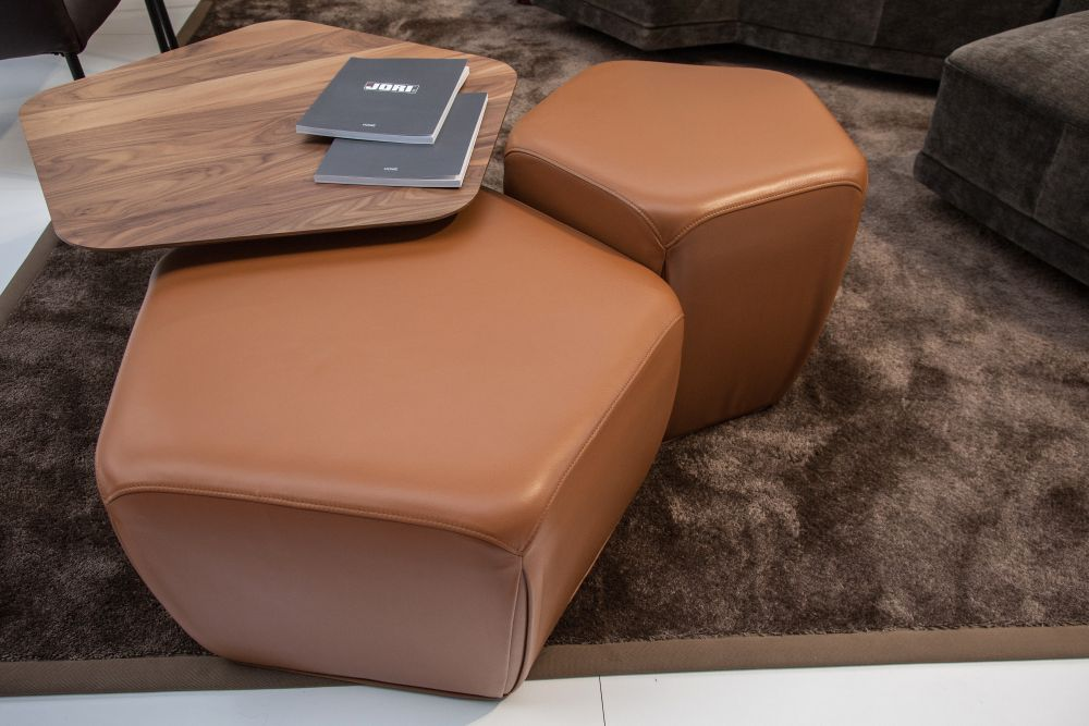 nesting tables - wood and leather ottomans