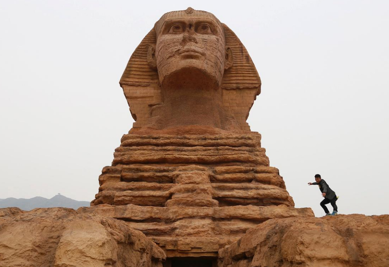 Replica of the Great Sphinx outside of Shijazhuang